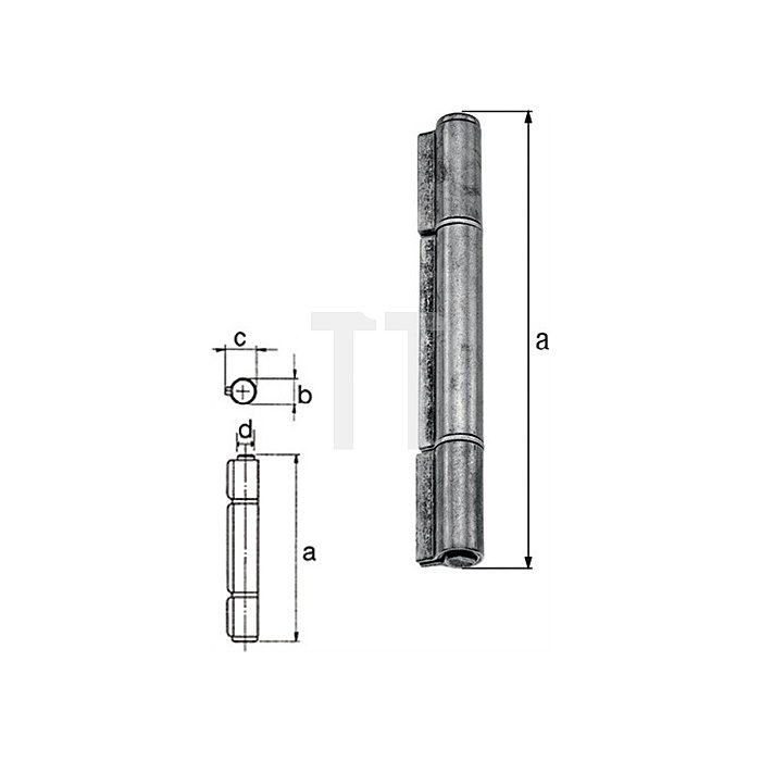 Konstruktionsband 140xØ16,5x22,0xØ10,5mm Stahl roh Ausführung: 3-teilig GAH