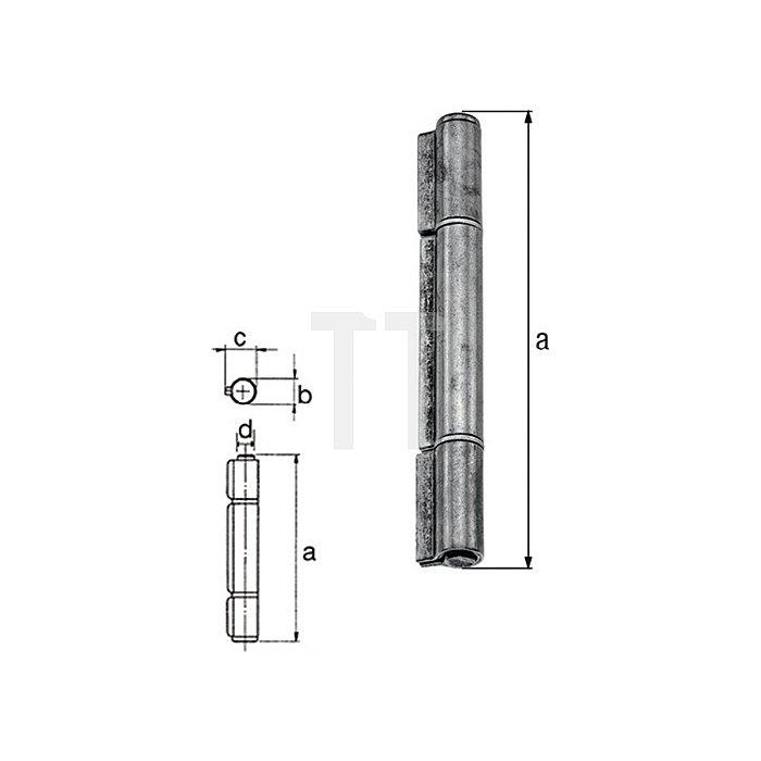 Konstruktionsband 170xØ17,5x23,5xØ12,0mm Stahl roh Ausführung: 3-teilig GAH