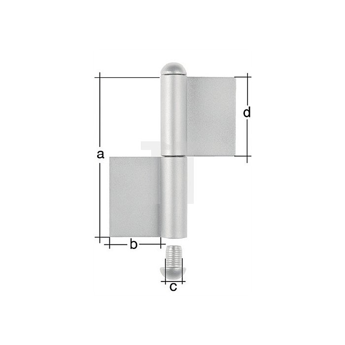 Konstruktionsband 180x50xØ14x90mm Stahl roh Typ KO4 2-teilig GAH