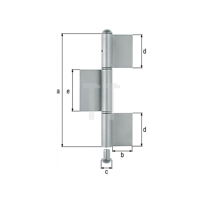 Konstruktionsband 220x50xØ14x70x80mm Stahl roh Typ KO8 3-teilig GAH