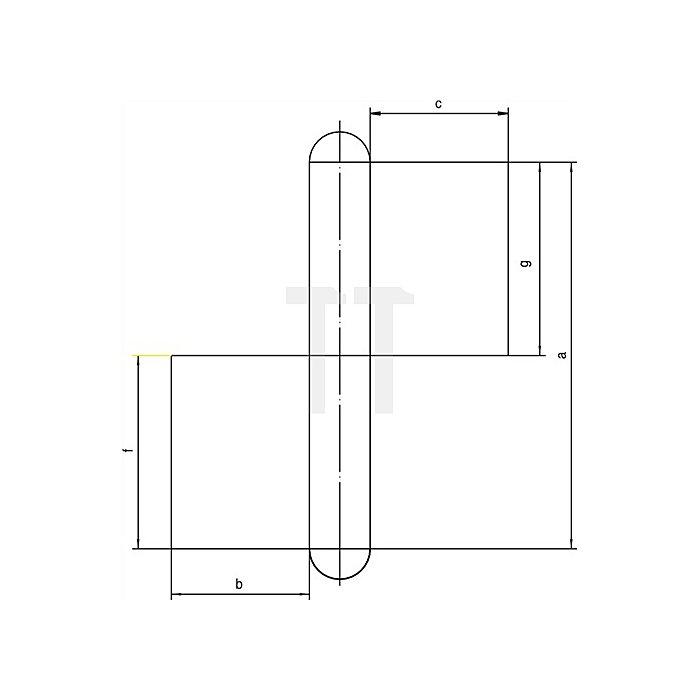 Konstruktionsband KO 4 L.180mm Lappen-B.50mm Stift-D.16mm S.5mm Stahl blank