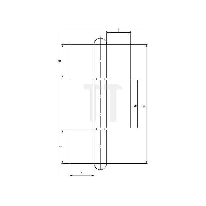 Konstruktionsband KO 8 L.220mm Lappen-B.50mm Stift-D.14mm S.4mm Stahl blank