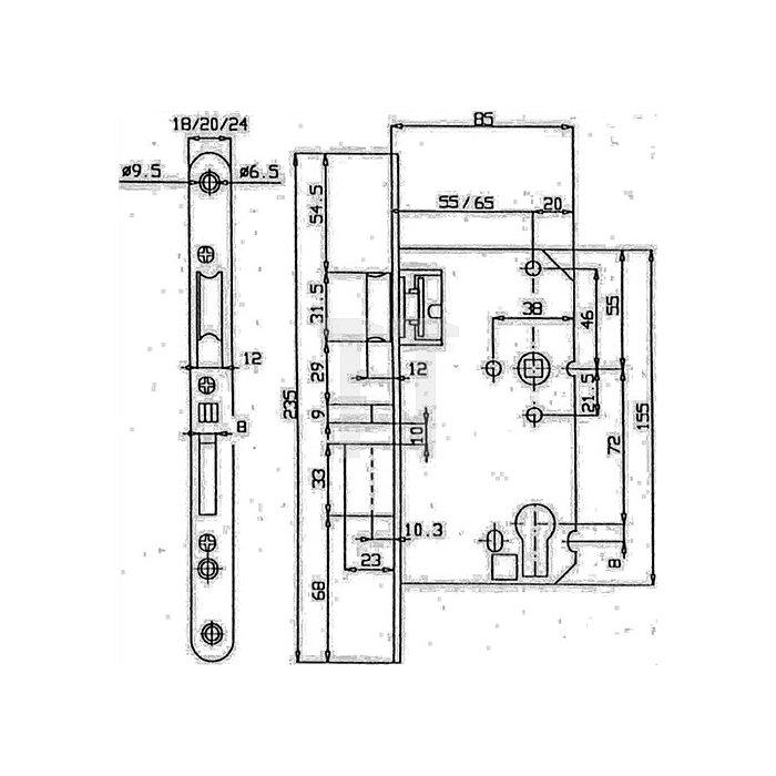 Korridortür-Einsteckschloss automatisch selbstverriegelnd 65 Dorn/72 PZ