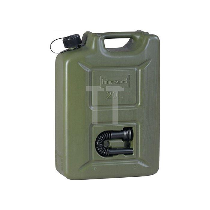 Kraftstoffkanister HD-PE oliv, Inhalt 20l, integriertes schwarzes Auslaufrohr