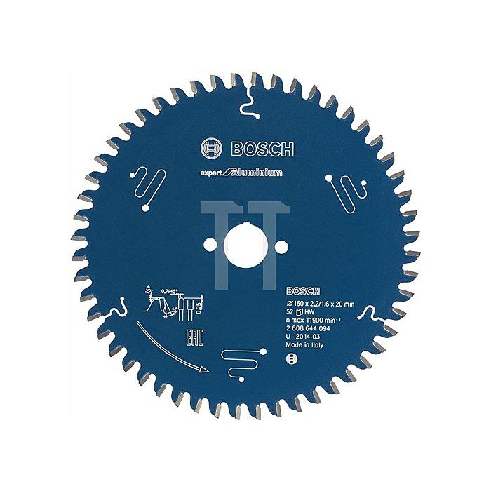 Kreissägeblatt A-D.160mm Bohr. 20mm 52Zähne Schnitt-B.2,2mm Expert für Alumimium