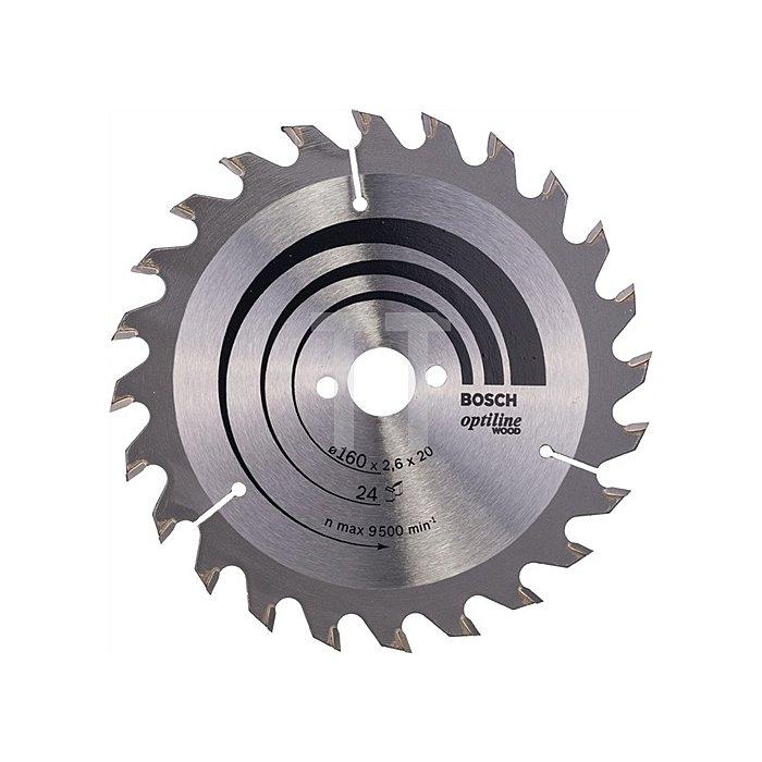 Kreissägeblatt Außen-D.150mm Bohr. 20mm 24Zähne Schnitt-B.2,6mm Optiline Wood WZ