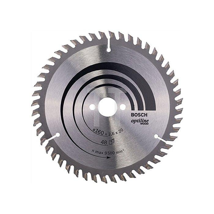 Kreissägeblatt Außen-D.160mm Bohr. 20mm 48Zähne Schnitt-B.2,6mm Optiline Wood WZ