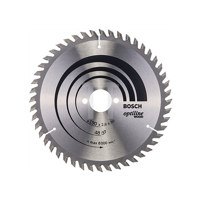 Kreissägeblatt Außen-D.190mm Bohr. 30mm 48Zähne Schnitt-B.2,6mm Optiline Wood WZ