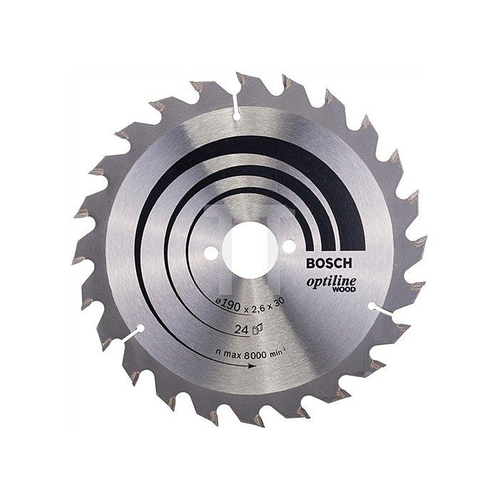 Kreissägeblatt Außen-D.190mm Bohrung 30mm 24Zähne Schnitt-B.2,6mm Optiline Wood