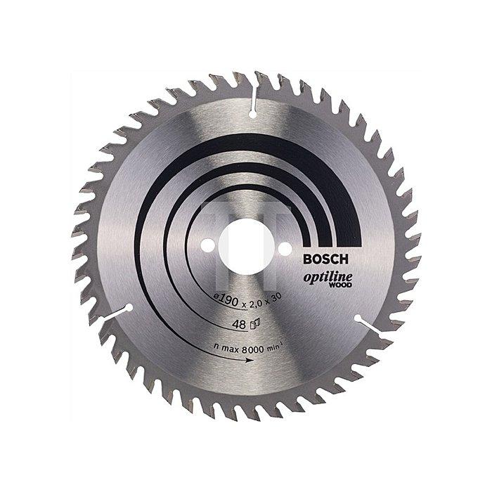 Kreissägeblatt Außen-D.190mm Bohrung 30mm 48Zähne Schnitt-B.2mm Optiline Wood WZ