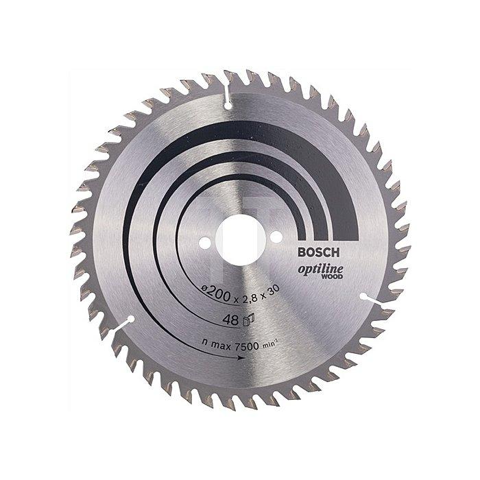 Kreissägeblatt Außen-D.200mm Bohr. 30mm 48Zähne Schnitt-B.2,8mm Optiline Wood WZ