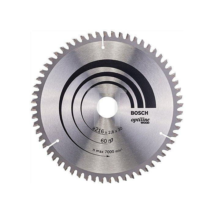 Kreissägeblatt Außen-D.216mm Bohr. 30mm 60Zähne Schnitt-B.2,8mm Optiline Wood WZ