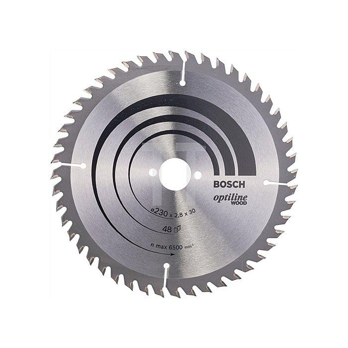 Kreissägeblatt Außen-D.230mm Bohr. 30mm 48Zähne Schnitt-B.2,8mm Optiline Wood WZ