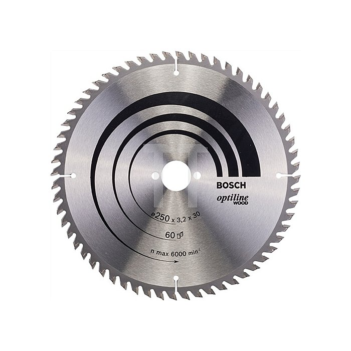 Kreissägeblatt Außen-D.250mm Bohr. 30mm 60Zähne Schnitt-B.3,2mm Optiline Wood WZ