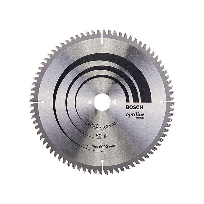 Kreissägeblatt Außen-D.250mm Bohr. 30mm 80Zähne Schnitt-B.3,2mm Optiline Wood WZ