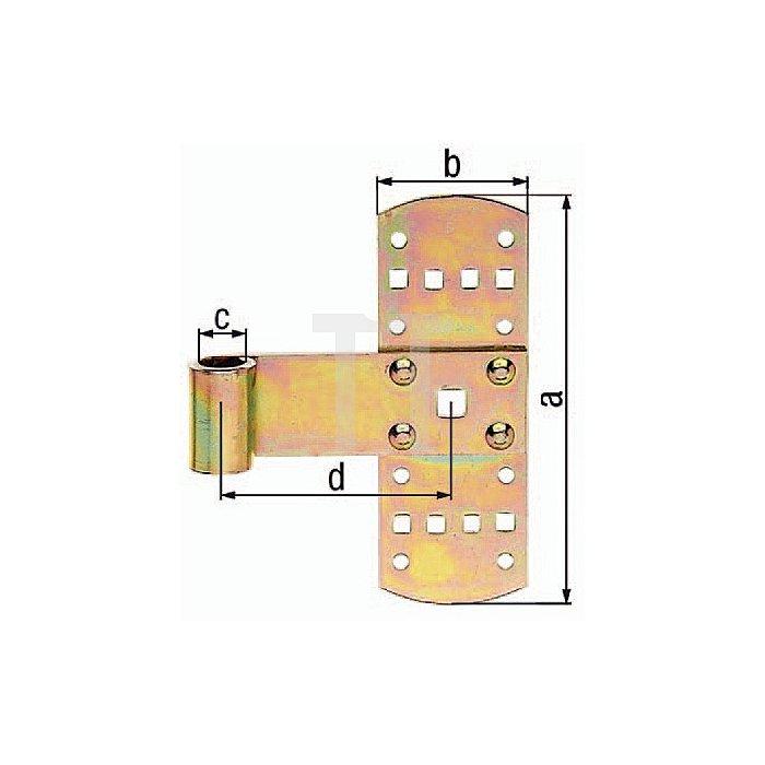 Kreuzband 140x50xØ13x75mm Stahl roh galv. gelb verz. GAH