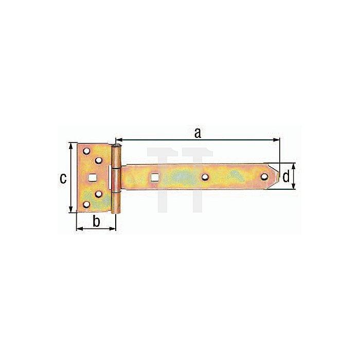 Kreuzgehänge 192x45x90x34mm Stahl roh galv. gelb verz. GAH