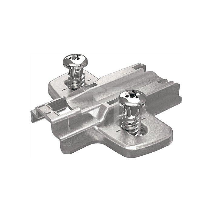 Kreuzmontageplatte D. 5mm für Eckanschläge Stahl vernickelt