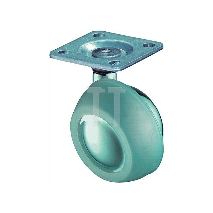 Kugel-Lenkrolle D. 63mm hochglanzverchromt pol. Befestigungsart Platte 38x38mm