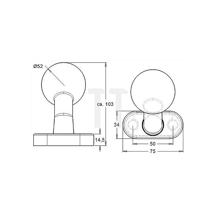 Kugelknopf K4/2033/02 gekröpft fest Rosette M12-Gewinde Alu F12
