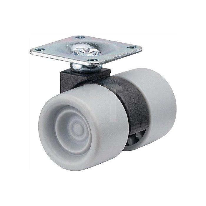 Kunststoff-Doppelrolle D. 38mm, Trgf. 60kg Rad schwarz Platte 47x47mm