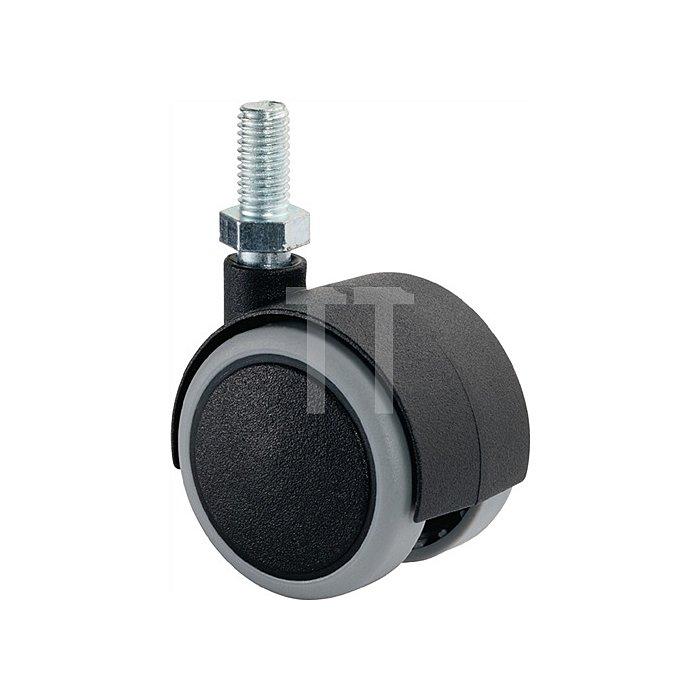 Kunststoffdoppelrolle D. 50mm Trgk. 50kg weiche Lauffläche Gewindestift M10x20mm