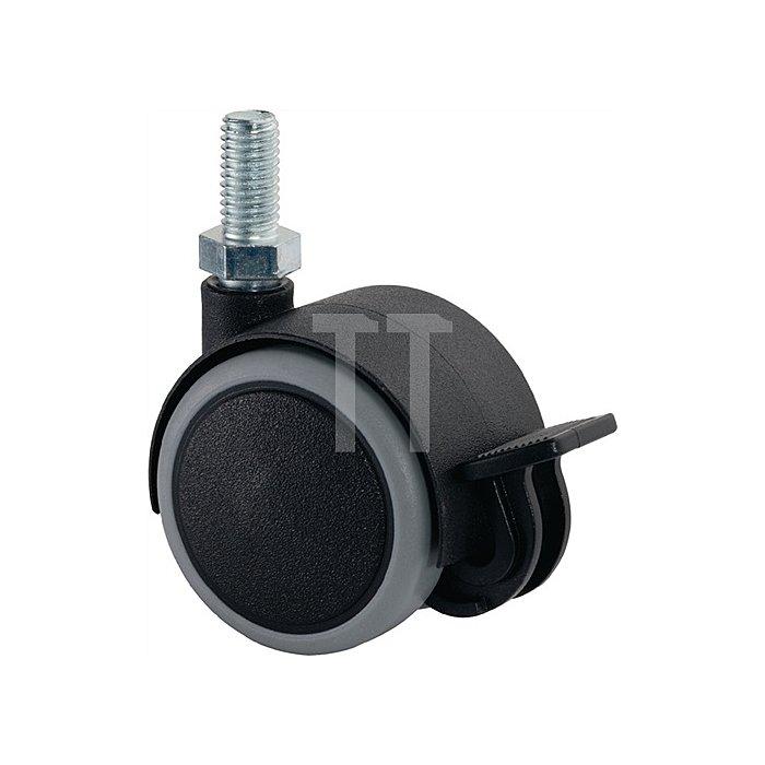 Kunststoffdoppelrolle m. Feststeller D. 40mm Trgk. 30kg Gewindestift M8x16mm