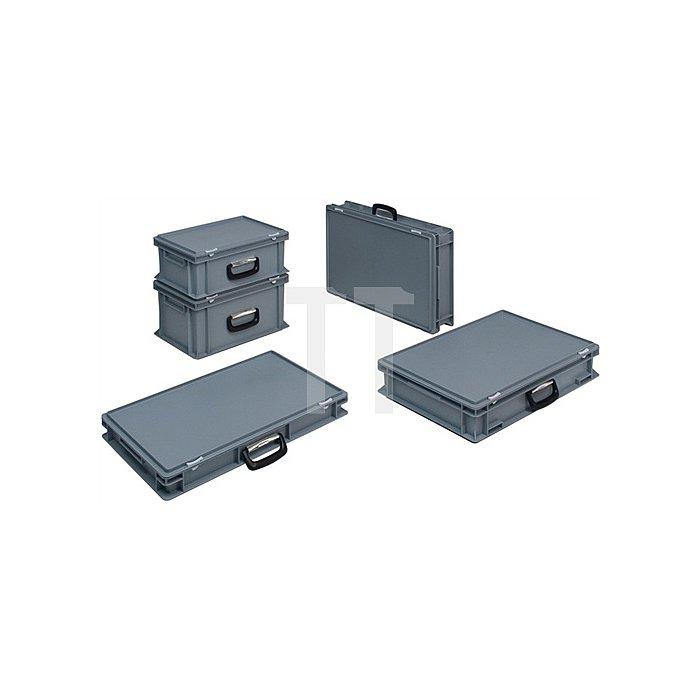 Kunststoffkoffer 15l PP m.1Griff L600xB400xH88mm grau stapelbar