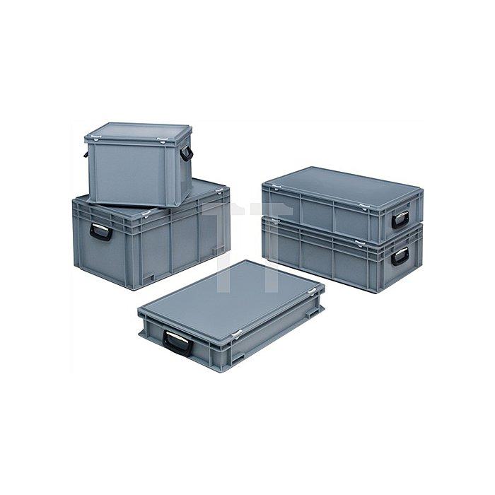 Kunststoffkoffer 34l PP m.2Griffen L600xB400xH183mm grau stapelbar