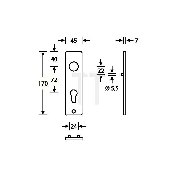Kurzschild 1402 Bad Aluminium F1 naturfarbig