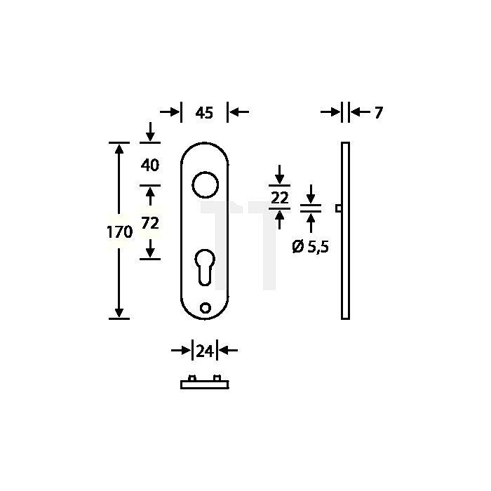 Kurzschild 1415 PZ Aluminium F1 naturfarbig