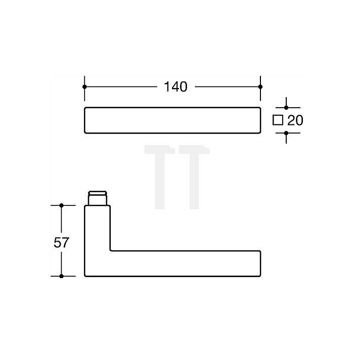 Kurzschild-Drückergrt.101XAH/220.20SXAH E72 PZ VK8mm TS38,1-48 VA matt-geschlif.