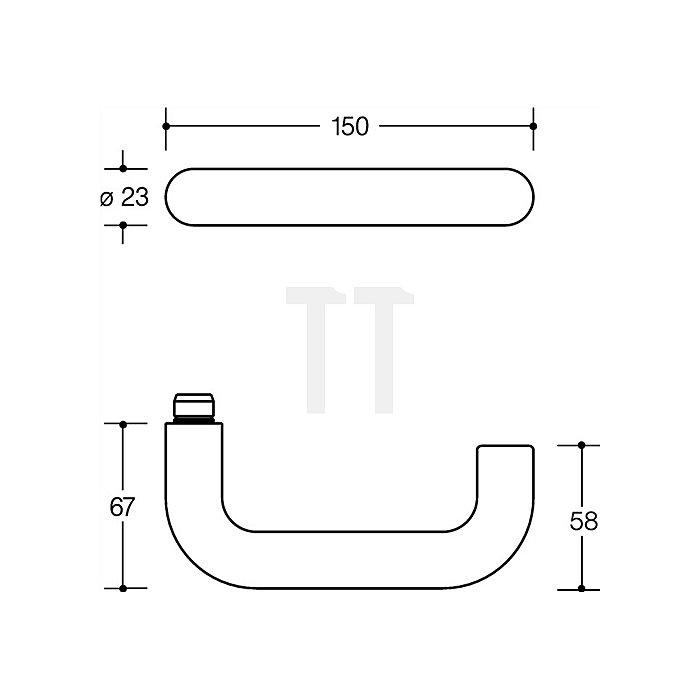 Kurzschild-Drückergrt.111.23R/123.23R/230.23R E72 PZ VK8mm TS38,1-48mm lichtgrau