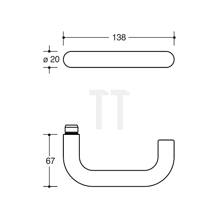 Kurzschild-Drückergrt.111R/230.20R E72 BB VK8mm TS38,1-48mm reinweiss