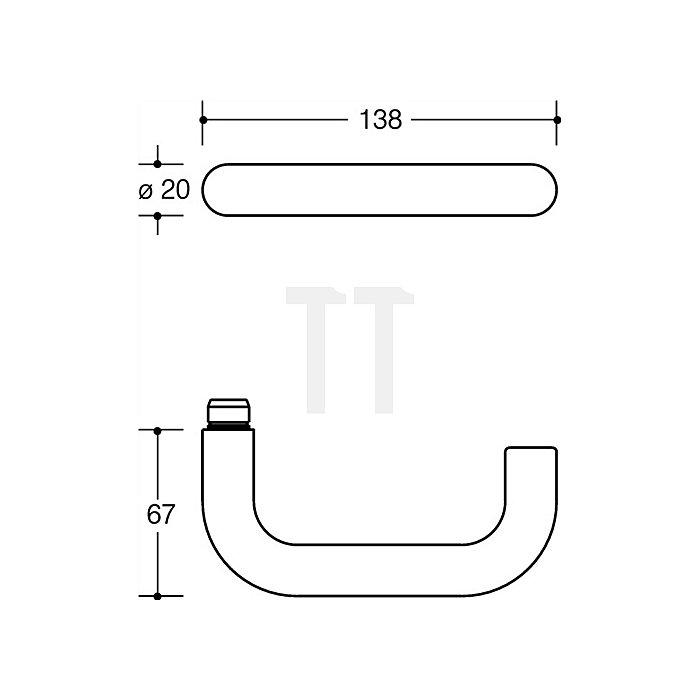 Kurzschild-Drückergrt.111R/230.20R E72 PZ VK8mm TS38,1-48mm tiefschwarz