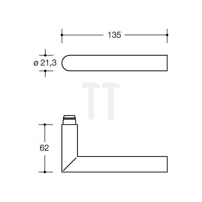 Kurzschild-Drückergrt.162.21PCB/230.21PCB E72 PZ VK8mm TS38,1-48mm tiefschwarz