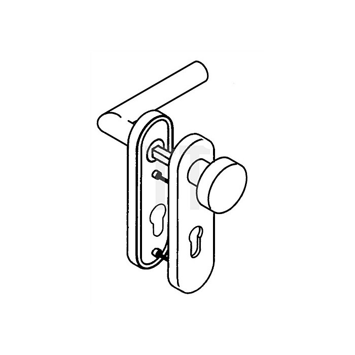 Kurzschild-Drückergrt.162.21XAH/107XA/230.21XAH E92 BB TS38,1-48 VA matt Wechsel