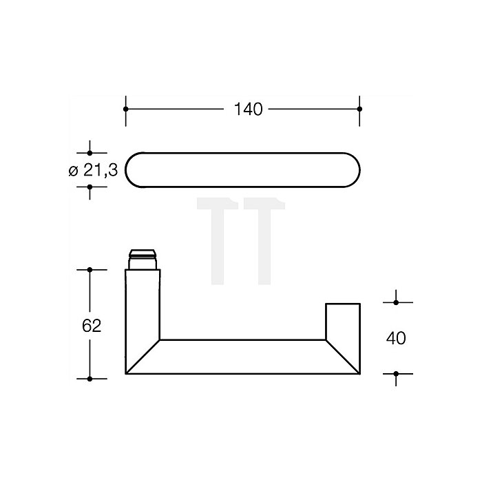 Kurzschild-Drückergrt.165.21PCH/230.21PCH E72 PZ VK8mm TS38,1-48mm reinweiss