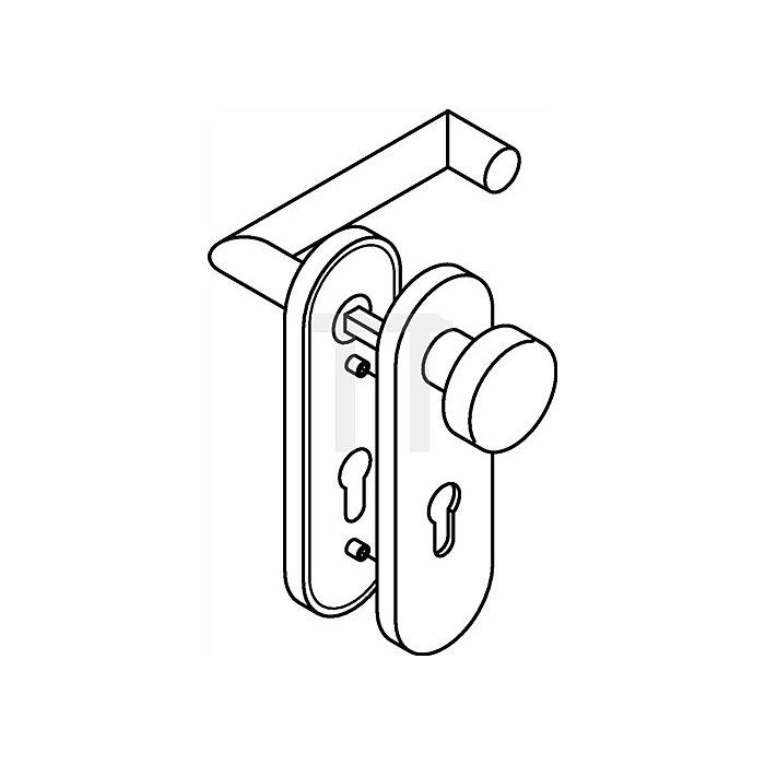 Kurzschild-Drückergrt.165.21XAH/107XA/230.21XAH BB TS38,1-48 VA matt Wechselgrt.