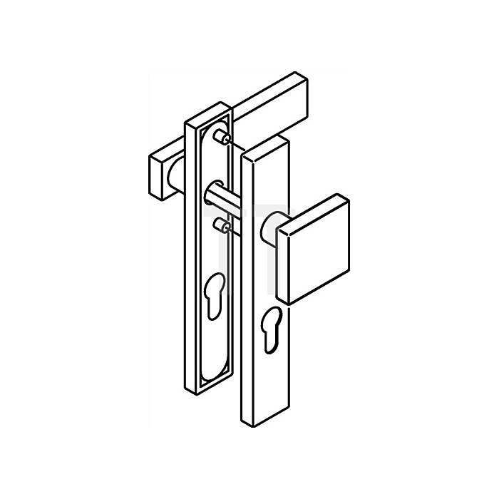 Kurzschild-Drückergrt.185XAH/105XA/220.21XAH E72 PZ VK8mm TS38,1-48mm VA matt WE