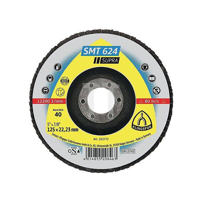 Lamellenschleifscheibe SMT 624 125x22,23mm K.120 INOX 12Grad gewölbt