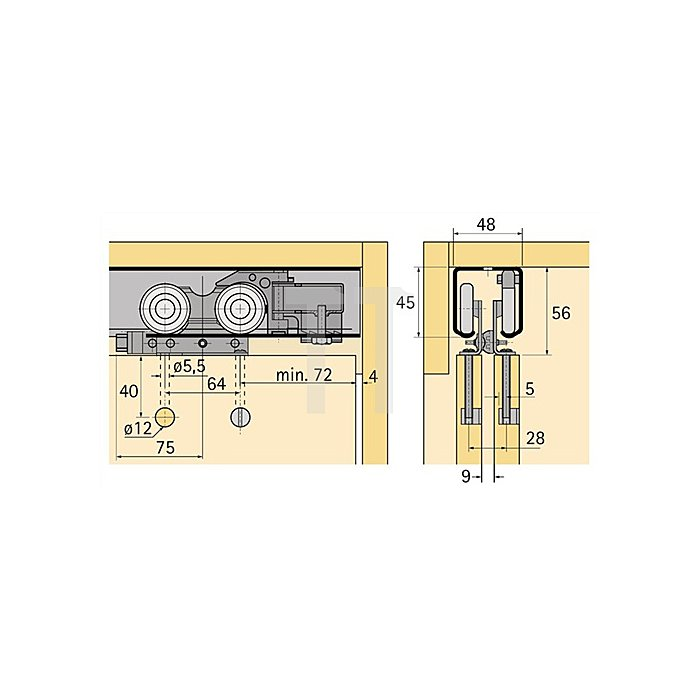 Laufprofil Top Line 1 / 045097 L. 6000mm Alu. blank