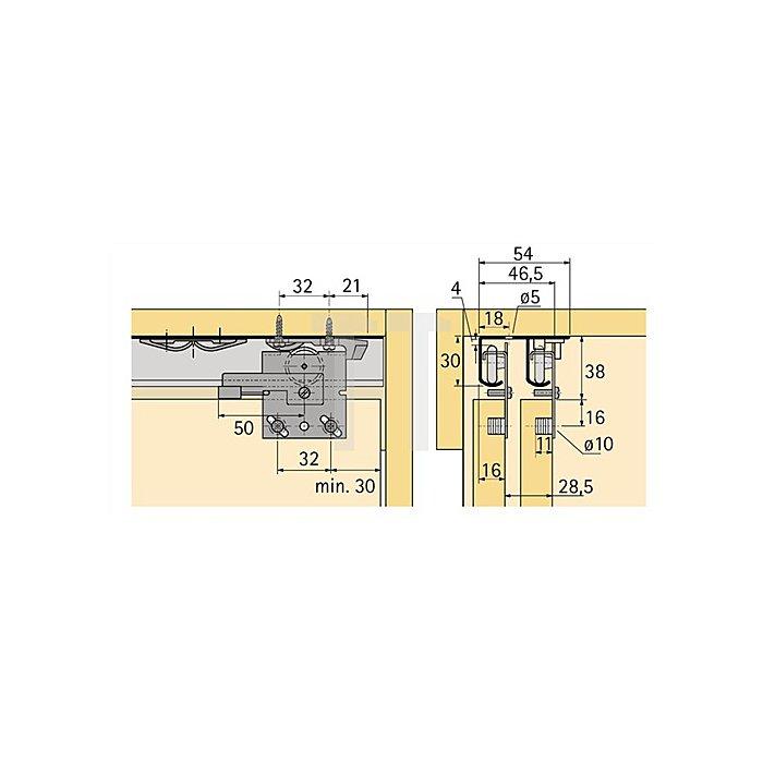 Laufprofil Top Line 27 / 046417 Länge 3500mm Aluminium blank