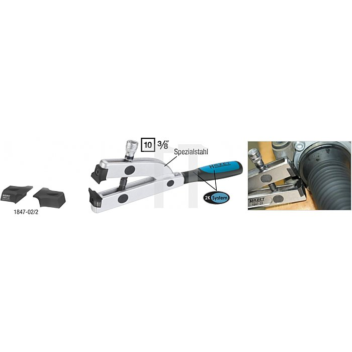 Hazet Lenkgetriebe-Manschetten-Spann-Zange Innen-Vierkant 10mm (3/8 Zoll) l: 178mm 1847-22