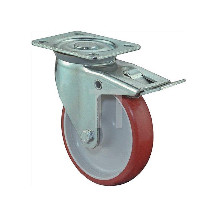 Lenkrolle A30 m.Totalfeststeller D.150mm Trgf.150kg PUR-Rad Platte 135x110mm