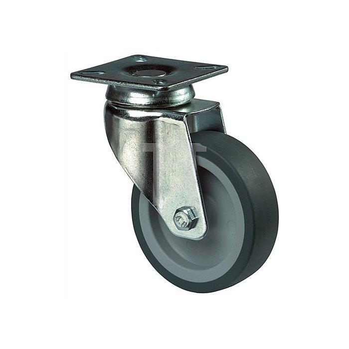 Lenkrolle A80 Durchmesser 100mm Tragkraft 65kg Bauhöhe 73mm Platte 60x60mm