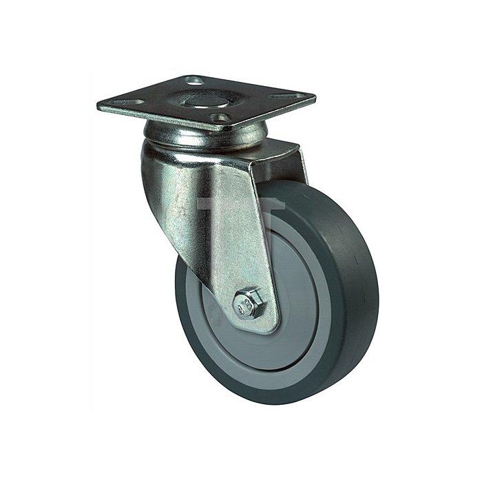 Lenkrolle A85 D. 50mm Trgf. 40kg Vollgummirad blaugrau Platte 54x54mm