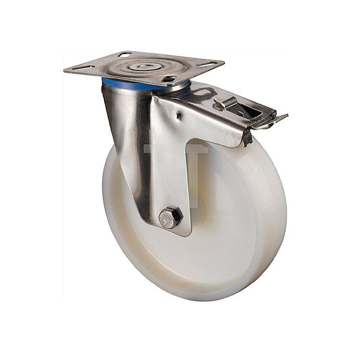 Lenkrolle A90 m.Totalfeststeller D.125mm Trgf.150kg Ku.-Rad weiss Platte 95x80mm