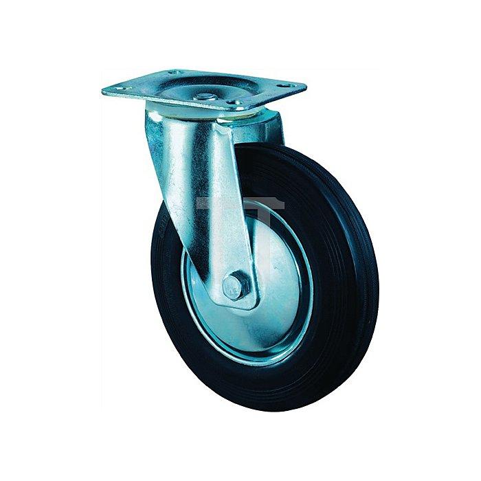 Lenkrolle B55 D.125mm Trgf.100kg Vollgummireifen schwarz Platte 104x80mm