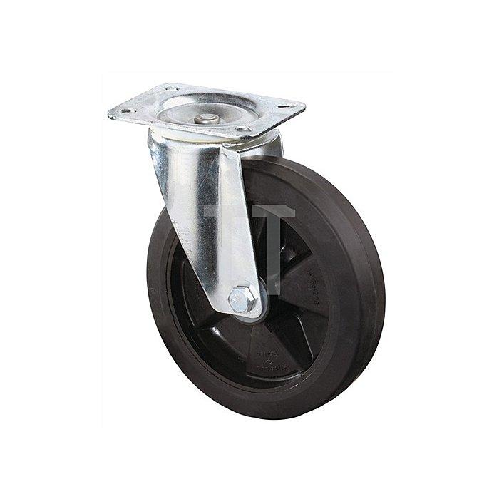 Lenkrolle B60 D.200mm Trgf.300kg Elastic-Vollgummireifen Platte 138x109mm